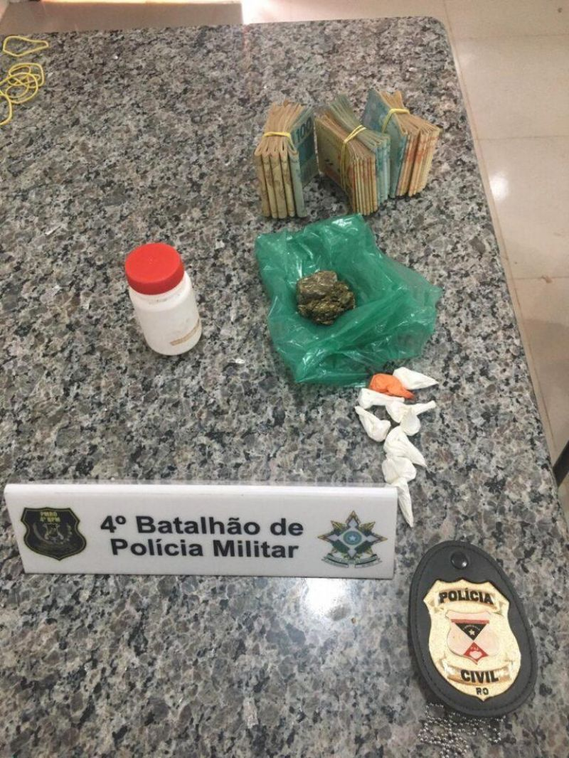Ação conjunta entre PM e PC resulta na apreensão de drogas e quase 12 mil em dinheiro, em Cacoal
