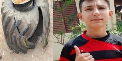 Adolescente de 14 anos morre em borracharia após pneu de trator estourar