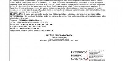 EDITAL DE CITAÇÃO - REINIR DIAS DA SILVA