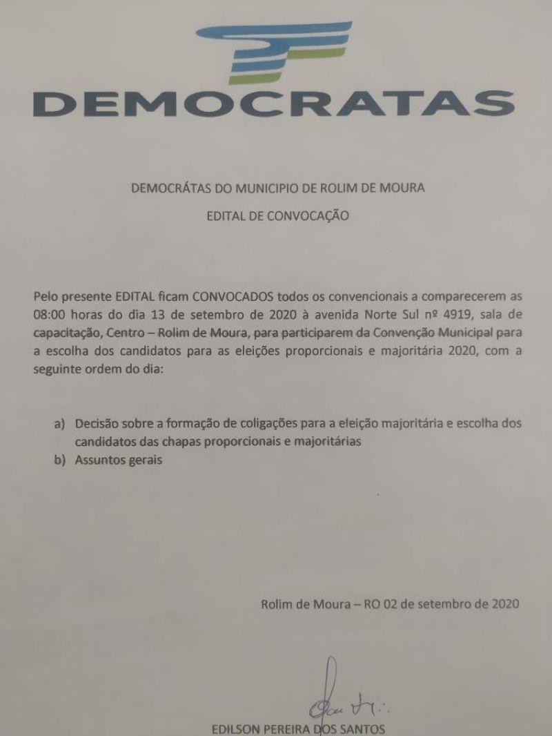 EDITAL DE CONVOCAÇÃO - DEMOCRATAS