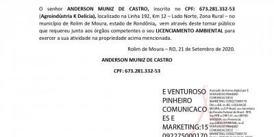 LICENCIAMENTO AMBIENTAL - ANDERSON MUNIZ DE CASTRO