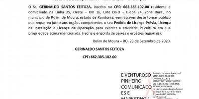 PEDIDO DE LICENÇA PRÉVIA – INSTALAÇÃO – OPERAÇÃO - GERINALDO SANTOS FEITOZA