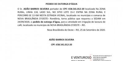 PEDIDO DE OUTORGA D'ÁGUA - ADÃO BARROS SILVEIRA
