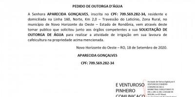PEDIDO DE OUTORGA D'ÁGUA - APARECIDA GONÇALVES