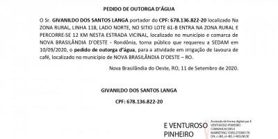 PEDIDO DE OUTORGA D'ÁGUA - GIVANILDO DOS SANTOS LANGA