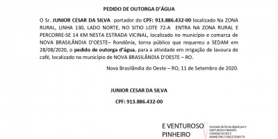 PEDIDO DE OUTORGA D'ÁGUA - JUNIOR CESAR DA SILVA