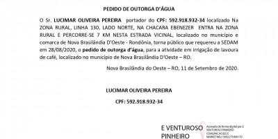 PEDIDO DE OUTORGA D'ÁGUA - LUCIMAR OLIVEIRA PEREIRA