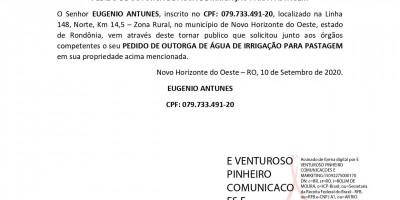 PEDIDO DE OUTORGA DE ÁGUA DE IRRIGAÇÃO PARA PASTAGEM - EUGENIO ANTUNES