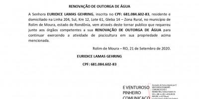 RENOVAÇÃO DE OUTORGA DE ÁGUA - EURIDICE LAMAS GEHRING