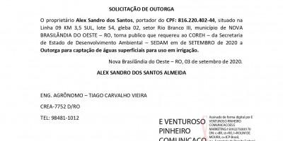 SOLICITAÇÃO DE OUTORGA - Alex Sandro dos Santos