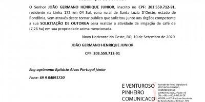 SOLICITAÇÃO DE OUTORGA - JOÃO GERMANO HENRIQUE JUNIOR