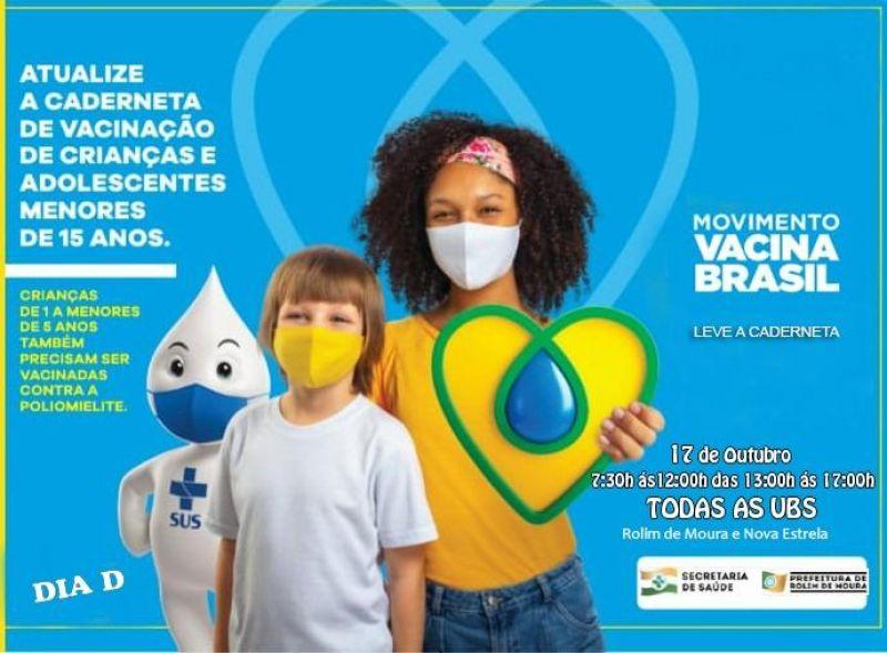 Dia D: Acontece neste sábado (17) campanha nacional de vacinação contra paralisia infantil em Rolim de Moura