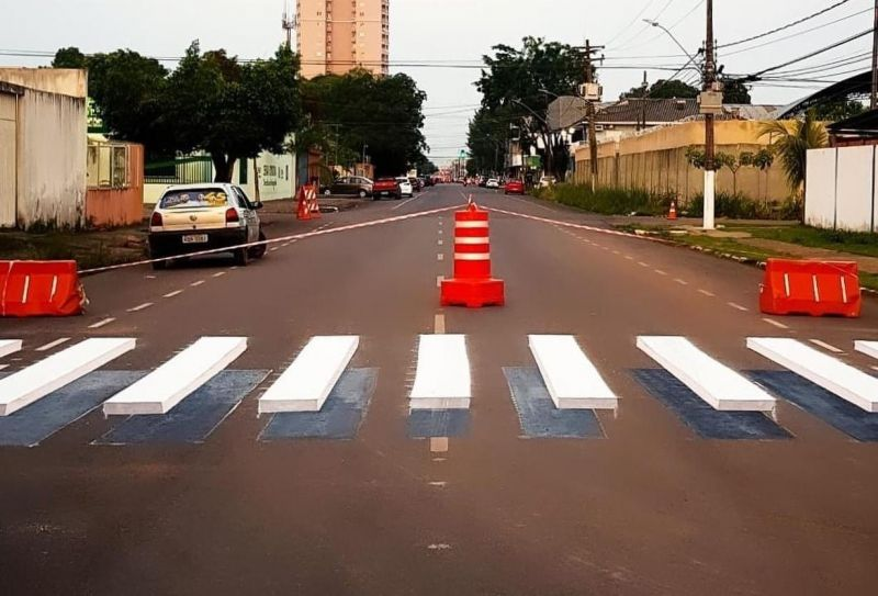 Faixas de pedestres 3D são implantadas em Porto Velho