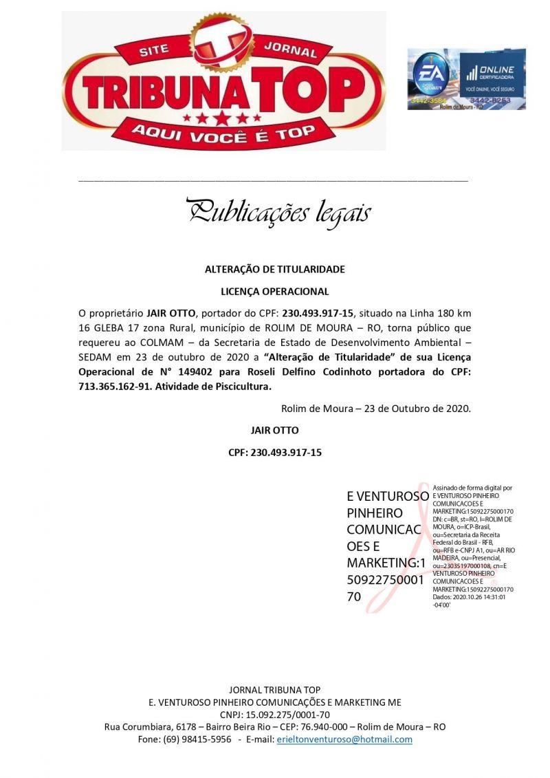 ALTERAÇÃO DE TITULARIDADE LICENÇA OPERACIONAL  - JAIR OTTO