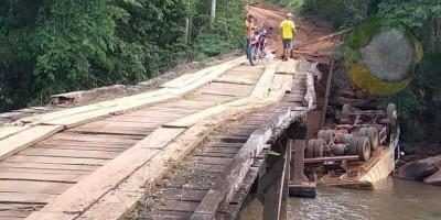 Caminhão cai de ponte na zona rural de Alta Floresta