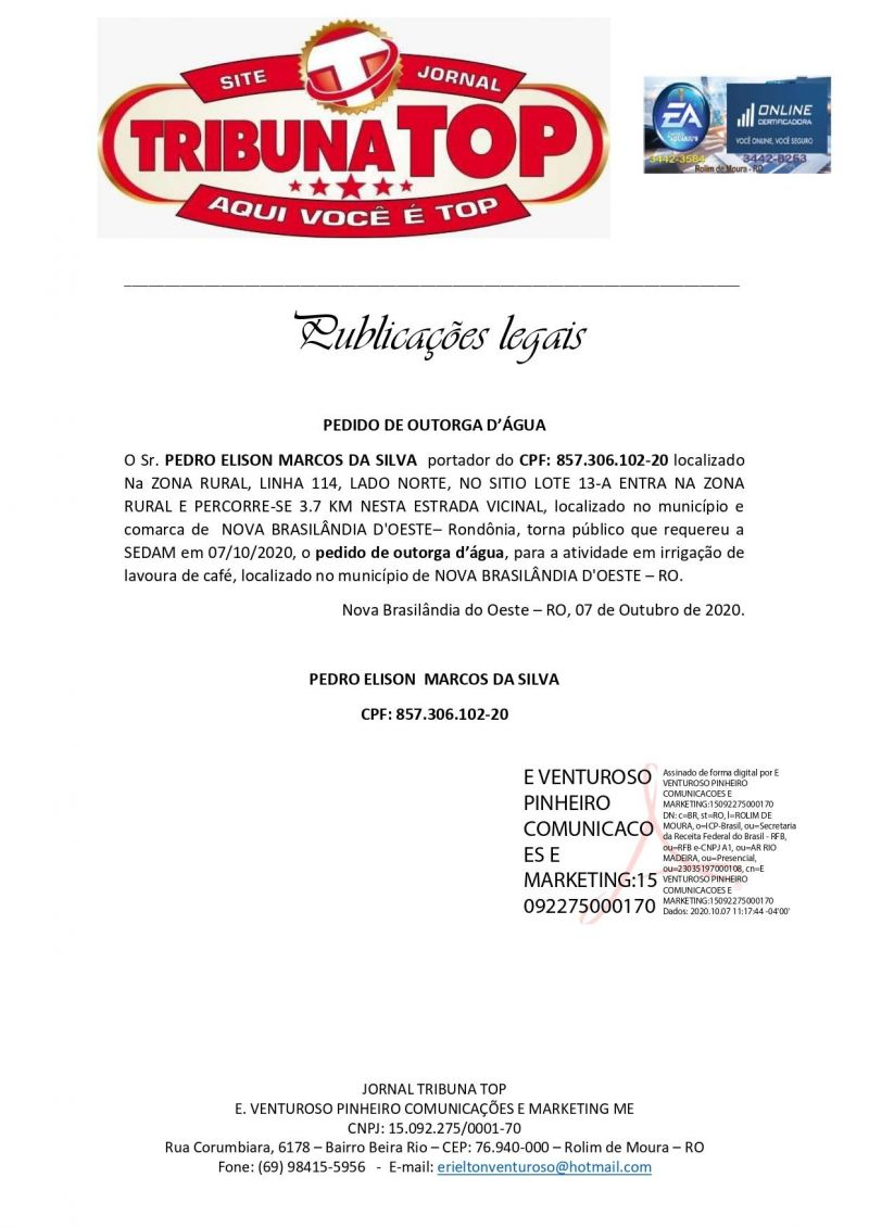 PEDIDO DE OUTORGA D'ÁGUA - PEDRO ELISON MARCOS DA SILVA