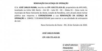 RENOVAÇÃO DA LICENÇA DE OPERAÇÃO  - JOSÉ CARLOS RUBIN