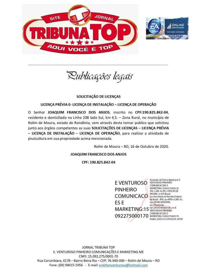 SOLICITAÇÃO DE LICENÇAS - JOAQUIM FRANCISCO DOS ANJOS