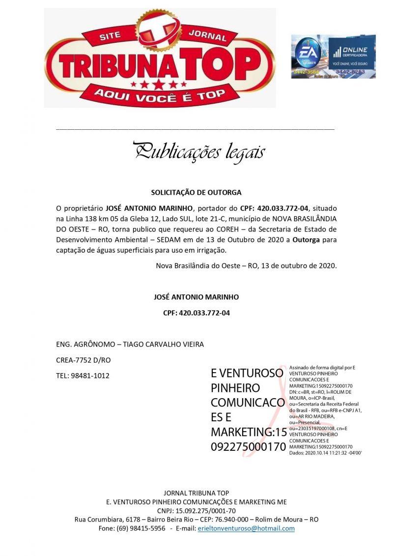 SOLICITAÇÃO DE OUTORGA - JOSÉ ANTONIO MARINHO