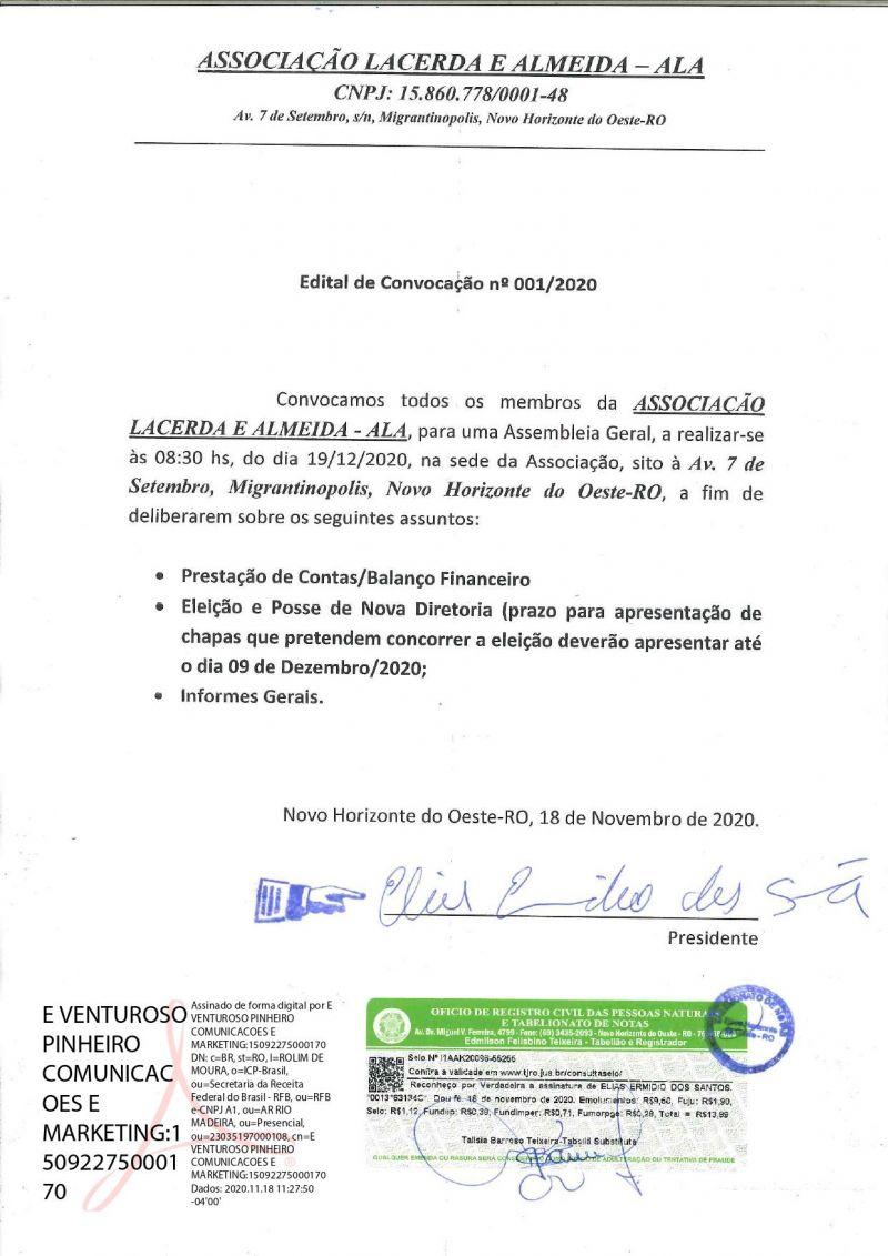 EDITAL DE CONVOCAÇÃO - 001/2020