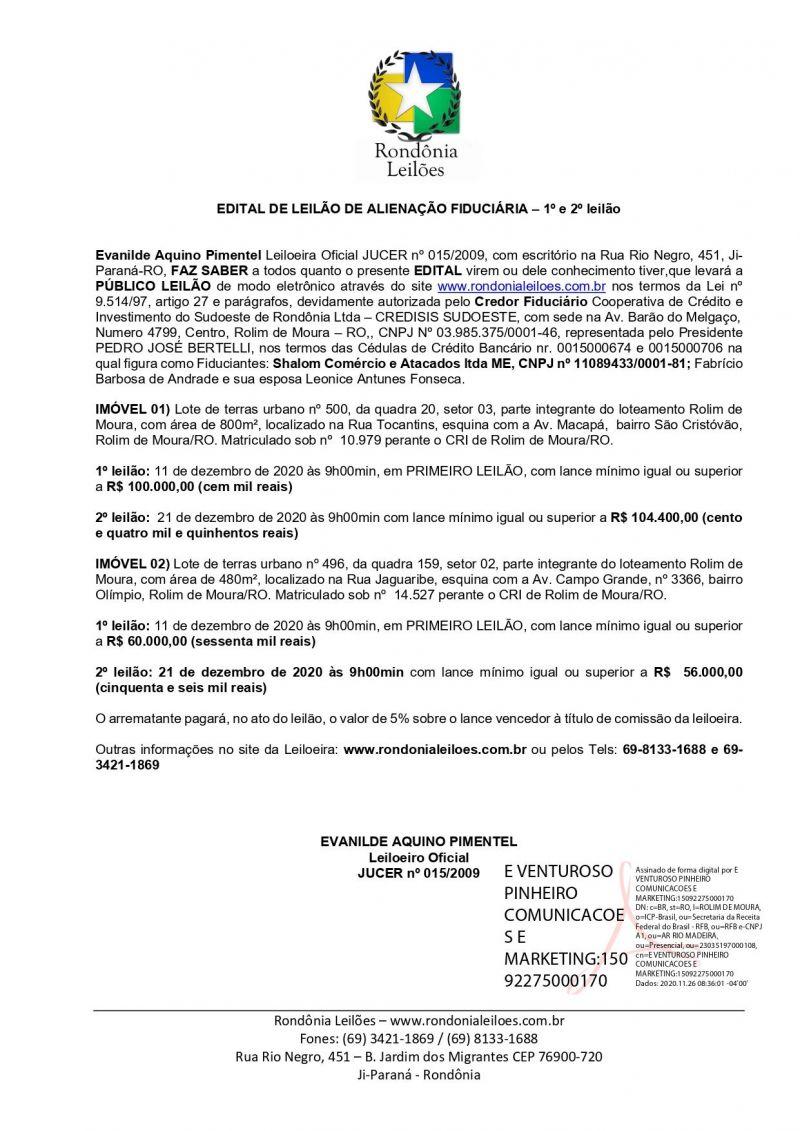 EDITAL DE LEILÃO DE ALIENAÇÃO FIDUCIÁRIA – 1º e 2º leilão