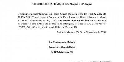 PEDIDO DE LICENÇA PRÉVIA, DE INSTALAÇÃO E OPERAÇÃO - Dra Thais Araujo Melocra
