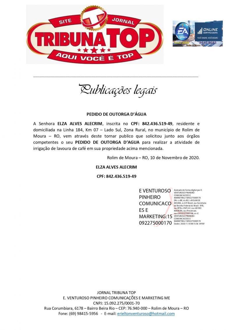 PEDIDO DE OUTORGA D'ÁGUA  - ELZA ALVES ALECRIM