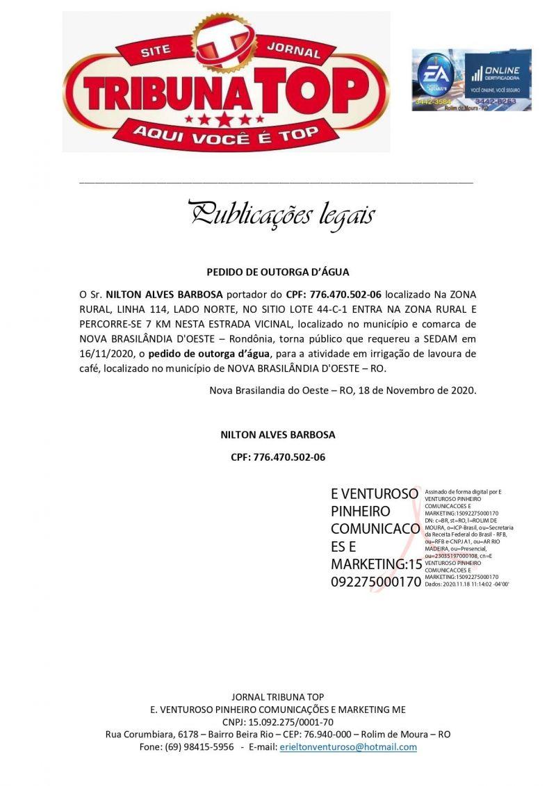 PEDIDO DE OUTORGA D'ÁGUA - NILTON ALVES BARBOSA