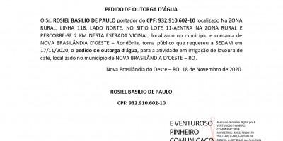 PEDIDO DE OUTORGA D'ÁGUA - ROSIEL BASILIO DE PAULO