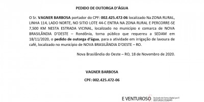 PEDIDO DE OUTORGA D'ÁGUA - VAGNER BARBOSA