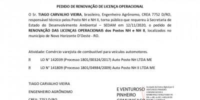 PEDIDO DE RENOVAÇÃO DE LICENÇA OPERACIONAL - POSTO NH I e II
