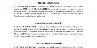 PEDIDOS DE LICENÇAS - LP - LI - LO - C.C PENHA MOTOS PEÇAS