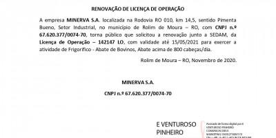 RENOVAÇÃO DE LICENÇA DE OPERAÇÃO  - MINERVA S.A