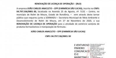 RENOVAÇÃO DE LICENÇA DE OPERAÇÃO – (RLO)  - JOÃO CARLOS ANACLETO – EPP