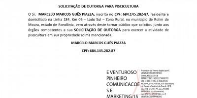 SOLICITAÇÃO DE OUTORGA PARA PISCICULTURA  - MARCELO MARCOS GUÊS PIAZZA