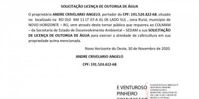 SOLICITAÇÃO LICENÇA DE OUTORGA DE ÁGUA - ANDRE CRIVELARIO ANGELO