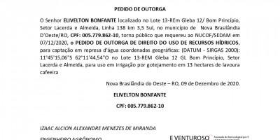 PEDIDO DE OUTORGA - ELIVELTON BONFANTE