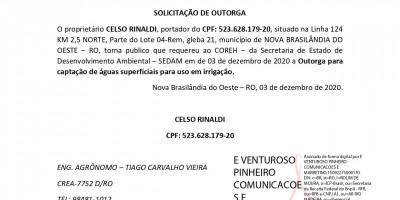 SOLICITAÇÃO DE OUTORGA - CELSO RINALDI