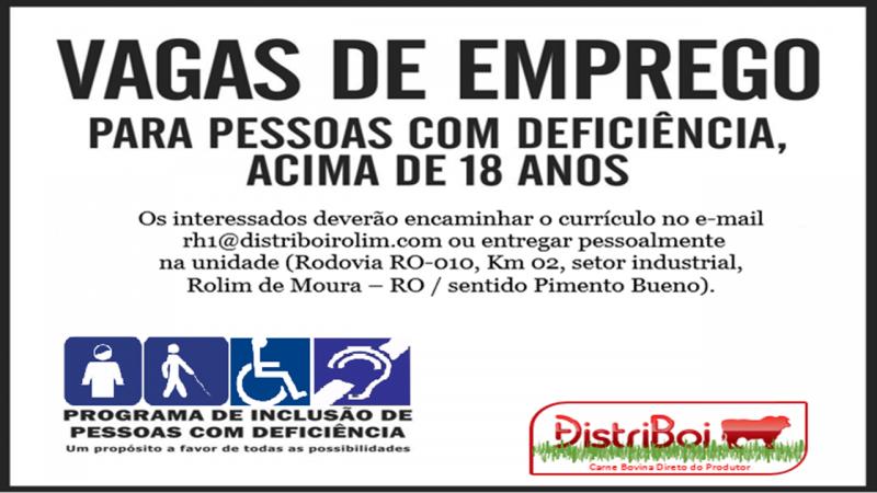 VAGAS DE EMPREGO - PCDs - DISTRIBOI - DEZEMBRO