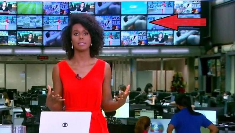Cena de sexo é exibida ao fundo no telão do Jornal Hoje e internet não perdoa; veja o vídeo