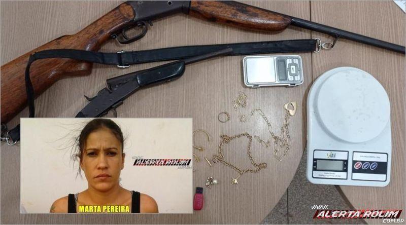 Mulher monitorada por tornozeleira é presa com armas de fogo durante trabalho conjunto entre PM e PC em Rolim de Moura