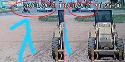 Vídeo registra momento em que motociclista atinge traseira de carro na BR-174 em Vilhena