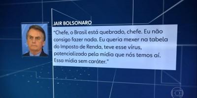 Bolsonaro diz que o Brasil está quebrado e que não 'consegue fazer nada'