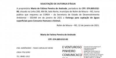 SOLICITAÇÃO DE OUTORGA D'ÁGUA - Maria de Fátima Pereira de Andrade