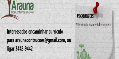 VAGAS DE EMPREGO - PCDs - ARAUNA