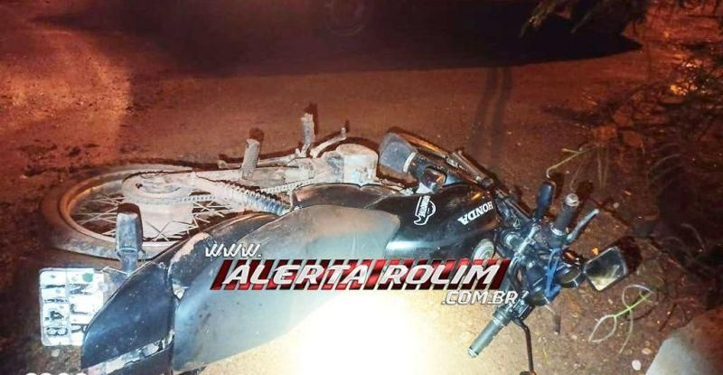 Rolim de Moura: Bandidos roubam moto e, na fuga, comparsa sofre queda e deixa veículo usado no crime para trás