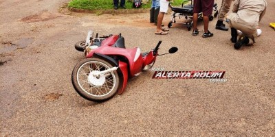 Motociclista fica ferida após acidente no Bairro São Cristóvão em Rolim de Moura