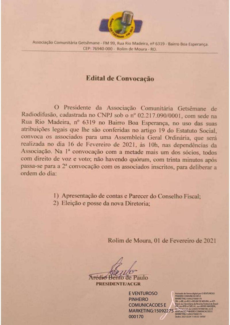 EDITAL DE CONVOCAÇÃO - GETSÊMANE