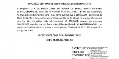 EXPEDIÇÃO CERTIDÃO DE INEXIGIBILIDADE DE LICENCIAMENTO - D F DE SOUZA COM. DE...
