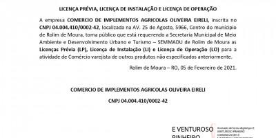 LICENÇA PRÉVIA, LICENÇA DE INSTALAÇÃO E LICENÇA DE OPERAÇÃO  - COMERCIO DE...
